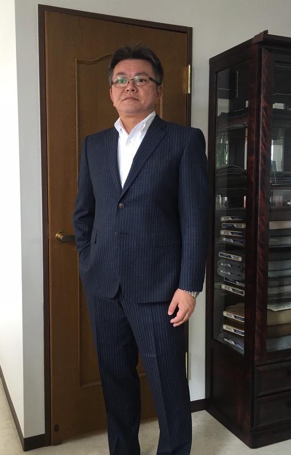 【東京都立川市在住 NSさま】国産プレミアム生地で二つ釦シングルスーツをお立て