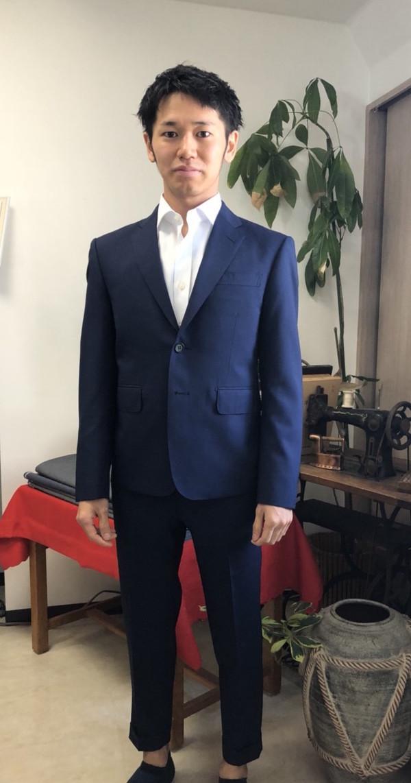 【東京都世田谷区在住  TKさま】カノニコ社(伊)製生地でスペアパンツ付き二つ釦シングルスーツとオーダーYシャツをお仕立て