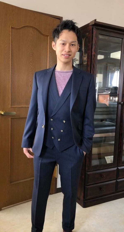 【東京都江東区在住  RKさま】国産生地で二つ釦三揃いシングルスーツをお仕立て