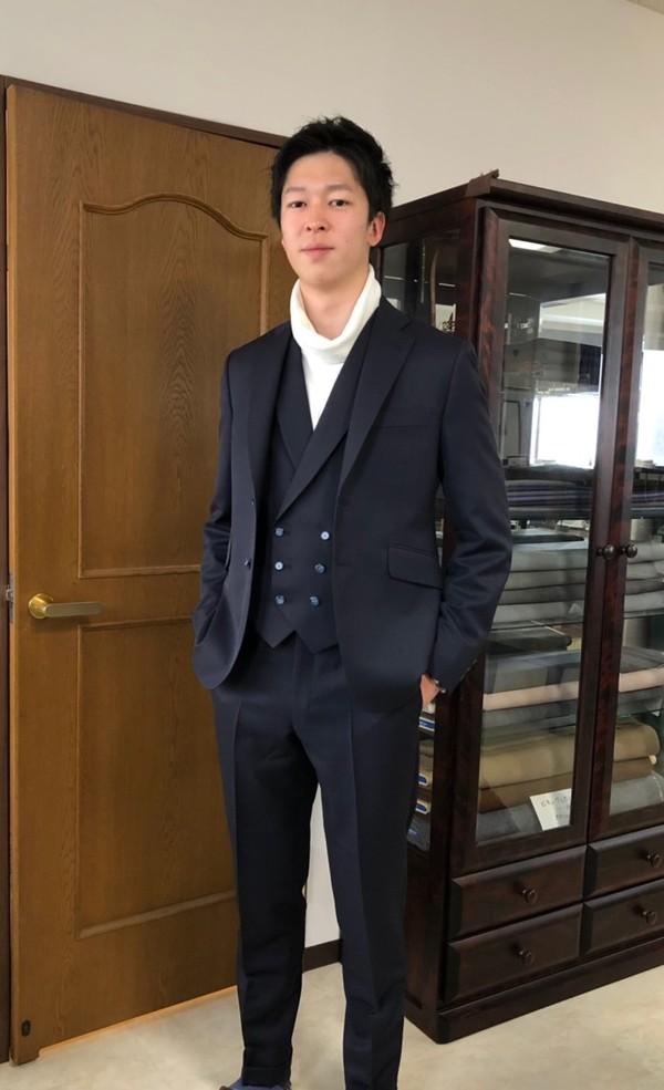【東京都練馬区在住 西村章さま】国産生地で二つ釦シングル・スリーピーススーツをお仕立て