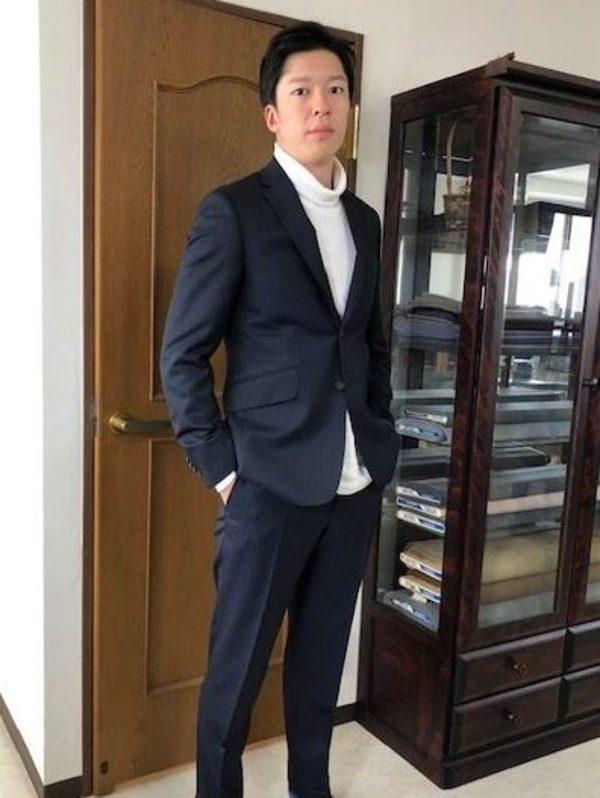 【東京都練馬区在住 ANさま】国産生地でスペアパンツ付き二つ釦シングルスーツをお仕立て