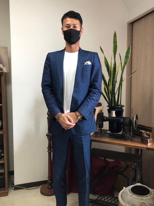 【東京都中野区在住 TKさま】国産シルクデニム生地で二つ釦シングルスーツをお仕立て