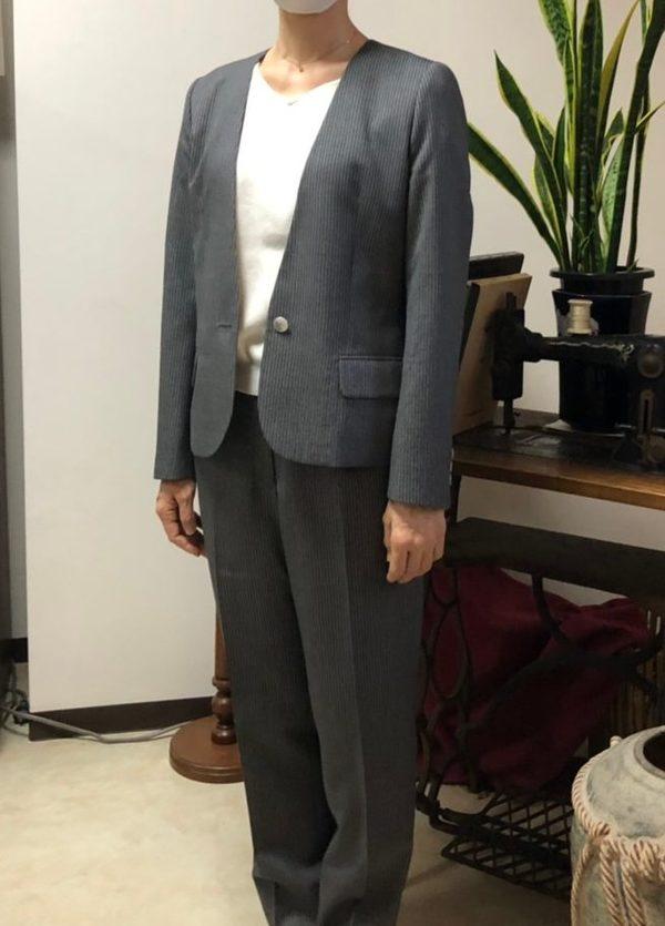 【東京都武蔵村山市在住 YNさま】国産生地で一つ釦シングル・レデイーススーツをお仕立て