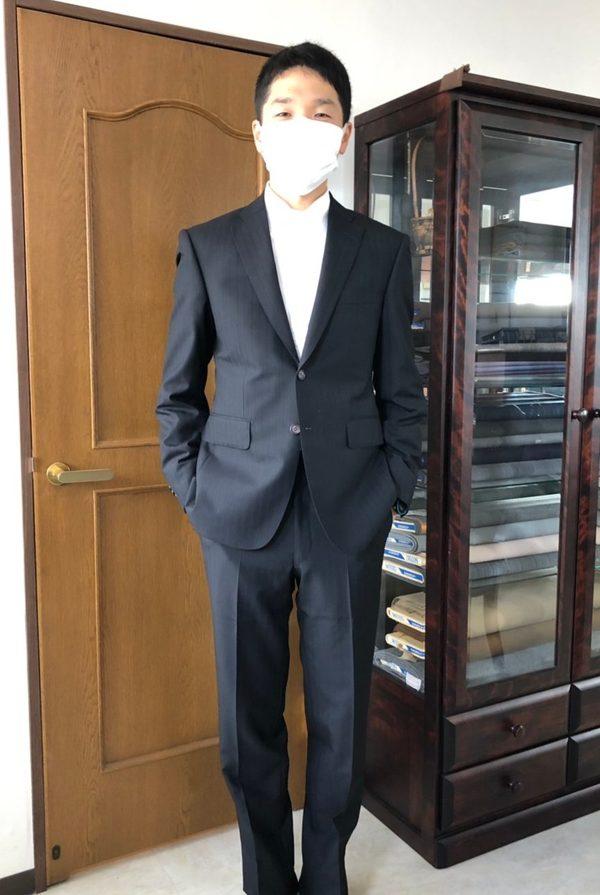 【東京都練馬区在住 JSさま】国産生地で礼服(拝み釦)/二つ釦シングルスーツをお仕立て