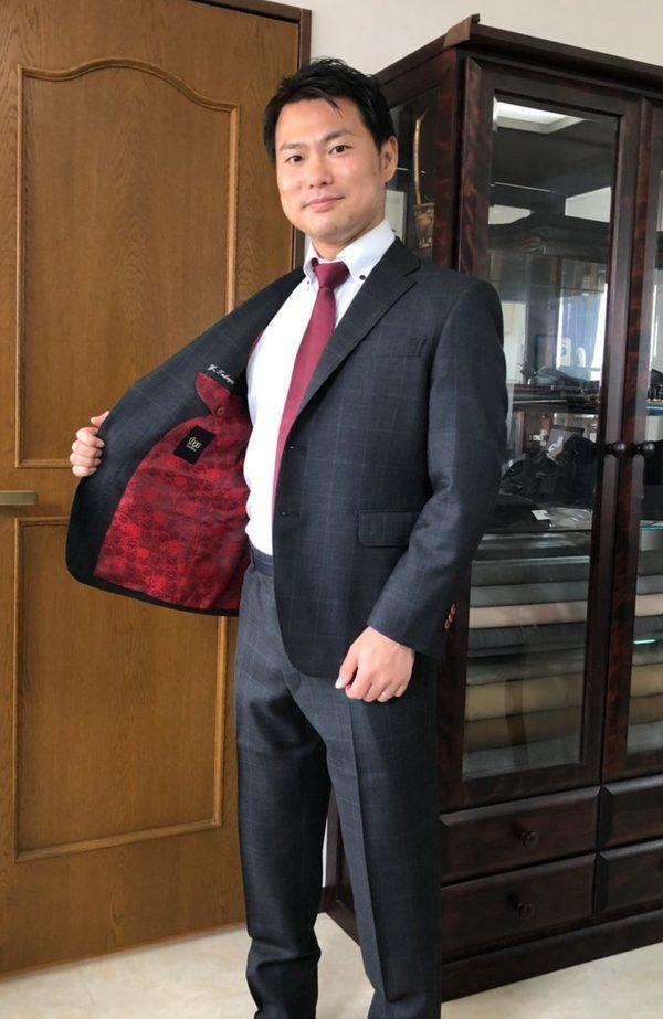 【東京都豊島区在住 YTさま】レダ社(伊)製生地で二つ釦シングルスーツをお仕立て