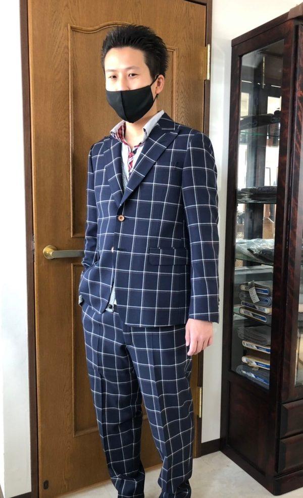 【東京都江戸川区在住 山本匠さま】国産生地で二つ釦シングルスーツをお仕立て