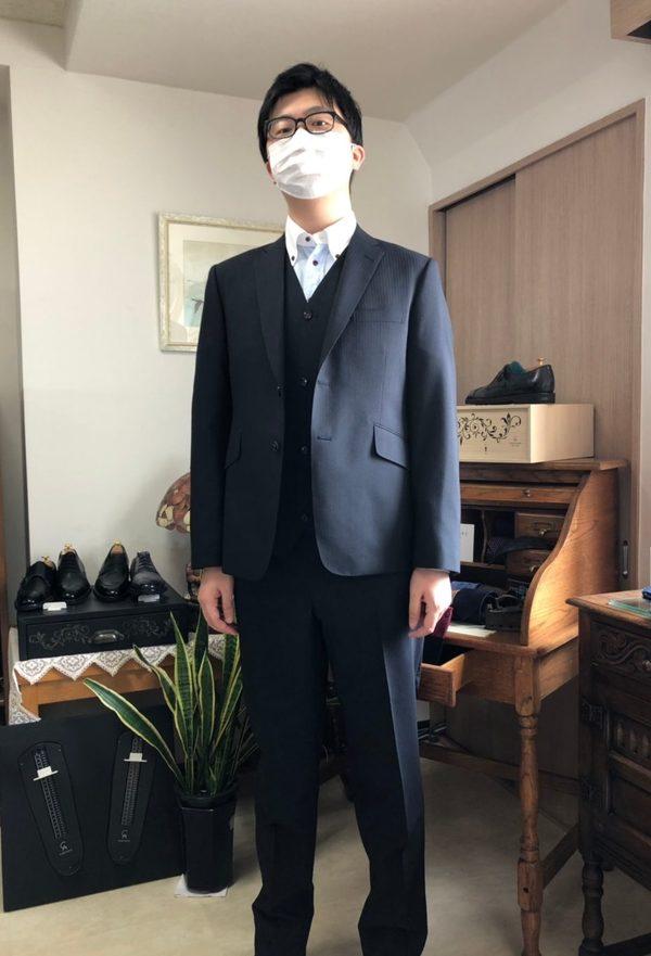 【東京都江東区在住 齋藤剛さま】国産生地で二つ釦シングル三つ揃いスーツをお仕立て