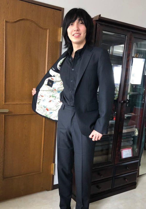 【大阪府大阪市在住 Shutoさま】国産生地で二つ釦シングルスーツをお仕立て