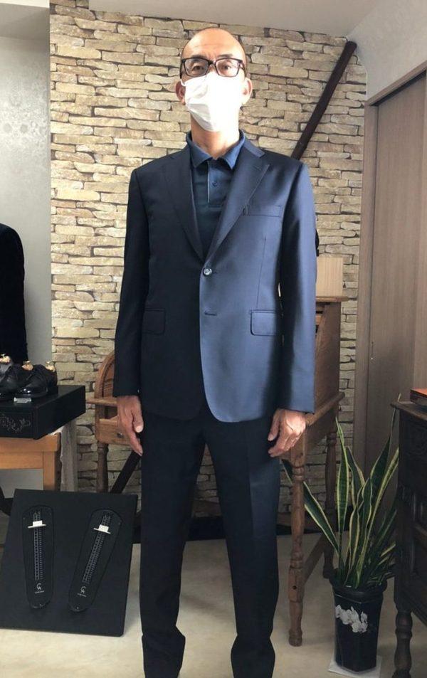 【埼玉県所沢市在住 高木宣宏さま】カノニコ社(伊)製生地で二つ釦シングルスーツをお仕立て