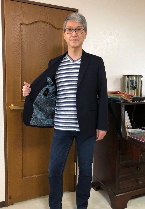 【東京都中野区在住 MKさま】JOHN FOSTER社(英)製生地で二つ釦シングルジャケットをお仕立て